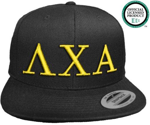 LAMBDA CHI ALPHA Flat Brim Snapback Hat Yellow Letters / Lambda Chi | L Chi | Fraternity Cap