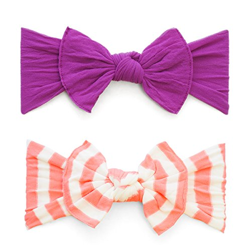 - Baby Bling Bows 2 Pack - Girls Classic Knot Headbands Azalea and Coral Stripe