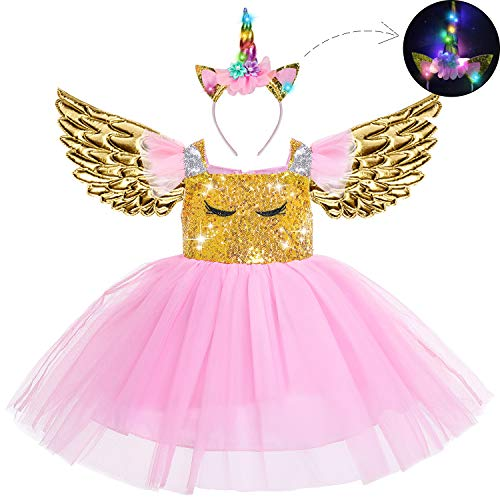 Beauta Unicorn Costume Cosplay Princess Dress up Birthday Pageant Party Dance Outfits Evening Gowns  (1-2 Years(Tag 90), Pink) -
