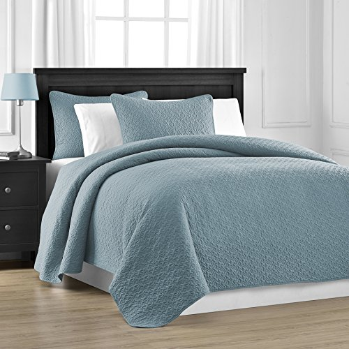 Prewashed Durable Comfy Bedding Jigsaw Quilted 3 Piece Bedspread Coverlet  Set (Full/Queen, Spa Blue)