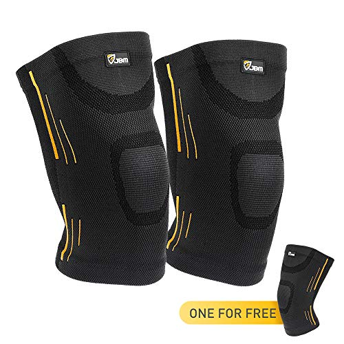 JBM 3 Pieces Knee Braces Support Compression Sleeve Patella Wrap Band Knee Stabilizer Safe Pain Relief for Weightlifting Power Lifting Fitness Exercise Basketball Badminton Running Climbing Cycling