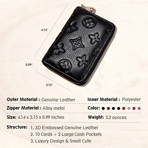 Auner Womens Wallet RFID Blocking Genuine Leather Multi Credit Card Holder Zipper Small Wallets - Black by Auner (Image #2)