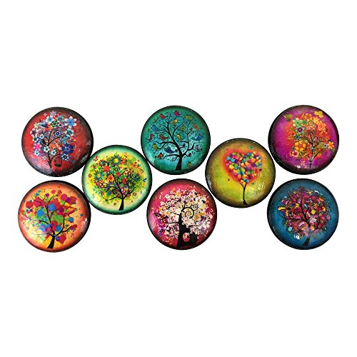 (Set of 8 Funky Trees Wood Cabinet Knobs)