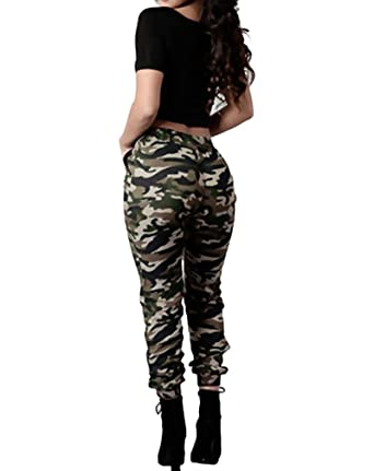 94ba50a4be4eb Tomwell Women's Camouflage Casual Pants Ankle Cuff High Waist Military Leggings  Sports Gym Jogging Joggers Loose Yoga Trousers: Amazon.co.uk: Clothing