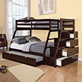1PerfectChoice Jason Twin Over Full Bunk Bed Storage Ladder Trundle Espresso Stairway Espresso