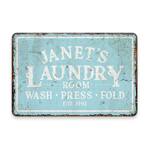 Laundry Personalized (Personalized Vintage Distressed Look Mint Laundry Wash Press Fold Metal Room Sign)
