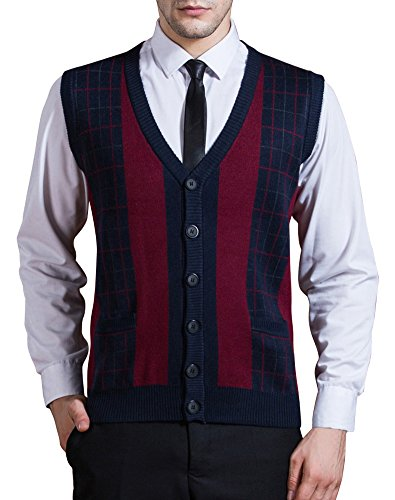 Zicac Men's Business V-Neck Assorted Color Knitwear Vest Cardigan Sweater (L, Thick Style - Navy) by Zicac