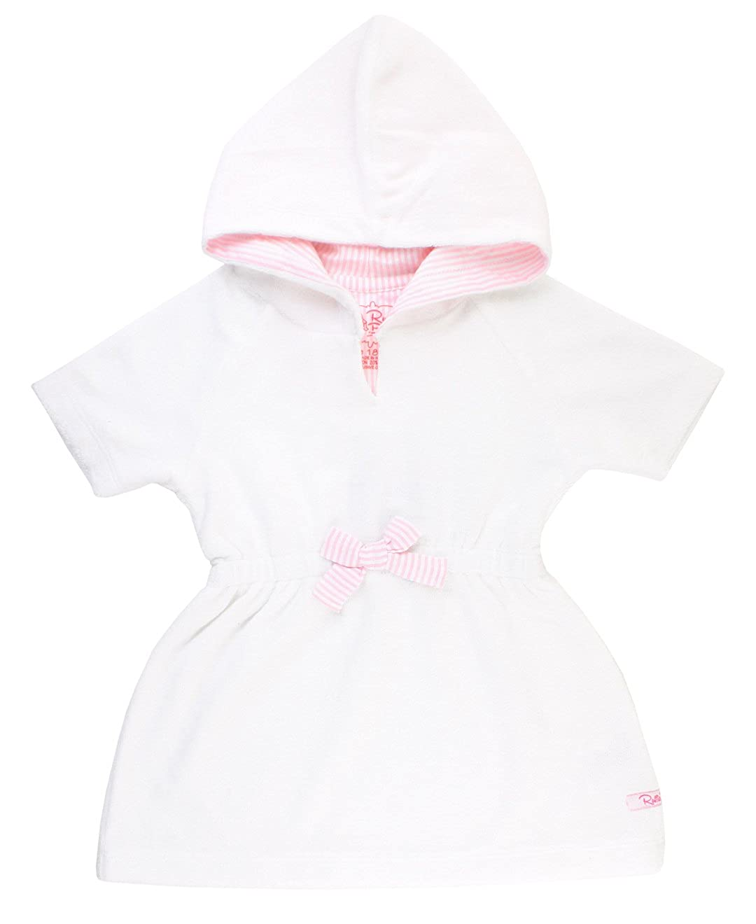 RuffleButts Infant/Toddler Girls White w/Pink Seersucker Terry Cover-Up CUTWHXX-SSPI-BABY