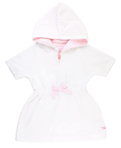 1e40de03f4191 RuffleButts Baby/Toddler Girls White w/Pink Seersucker Terry Hoodie Swimsuit  Cover-Up