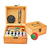 Mini Professional Wooden Sewing Basket Set with Wooden Sewing Box Premium Sewing Kit Accessories for Mother's Day Home Travel Emergency and Good Gift for Anyone