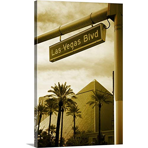 Nevada, Las Vegas, Street Name Sign and Luxor Hotel and Casino Canvas Wall Art Print, 32