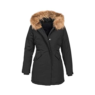 separation shoes 055fb 4e6d8 Elara Damen Winterjacke Echt Fell Mantel Chunkyrayan