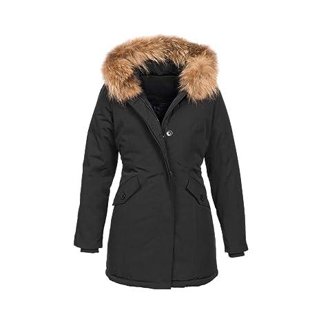 Elara Damen Winterparka | Jacke mit Echt Fell/Echt Pelz Kapuze | Designer Winterjacke | Chunkyrayan