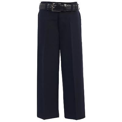Bone Big Boys Navy Flat Front Solid Belt Special Occasion Dress Pants 8-20