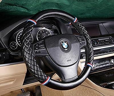 Follicomfy Lattice Leather Auto Car Steering Wheel Cover,Diameter 15 Inch,Anti Slip,Black