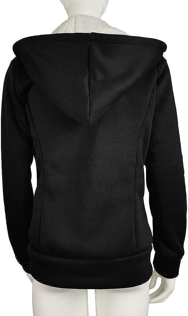 iYYVV Women Fashion Solid Outerwear Pocket Jacket Zipper Long Sleeve Fleece Hooded Coat
