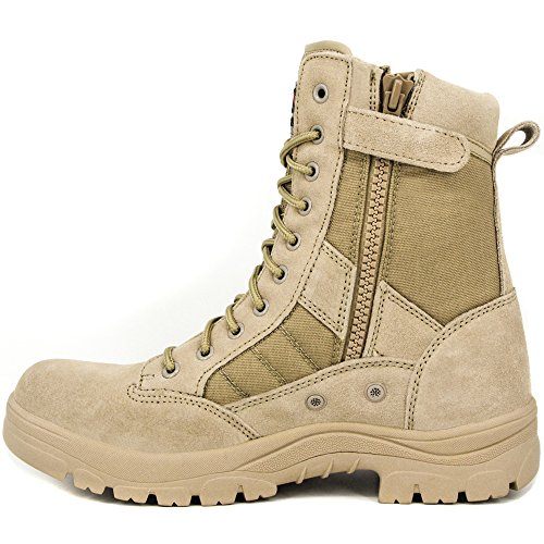 WIDEWAY Men's 8'' inch Military Tactical Boots Full Grain Leather Police Duty Water Resistant Boots with Side Zipper, Sand (Sand Leather Boots)