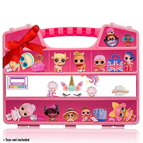 ASH BRAND Durable Figures Carrying CASE Storage Organizer | Fits Up to 50 Mini Toys Miniature Characters Or Tiny Bags & Baskets| Pink Toys Box with Compartments & Handle ... (Unicorn)
