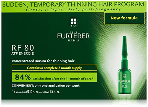 Rene Furterer RF 80 ATP Energie Concentrated Serum, Sudden Temporary Thinning Hair, Drug Free, 0.16 oz. x 12 Vials