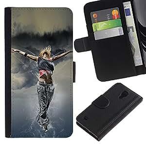 SAMSUNG Galaxy S4 IV / i9500 / SGH-i337 , la tarjeta de Crédito Slots PU Funda de cuero Monedero caso cubierta de piel ( Dance Woman Street Style Outfit Fashion Art)