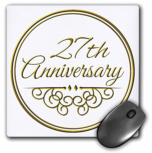 InspirationzStore Occasions - 27th Anniversary gift - gold text for celebrating wedding anniversaries - 27 years married together - MousePad (mp_154469_1)