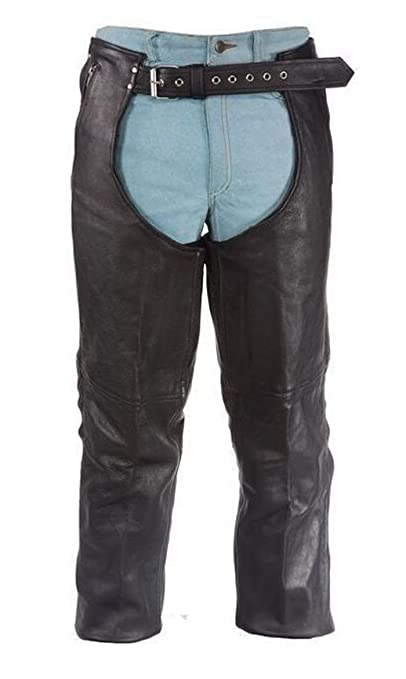 36 Xelement B7561 Mens Black Cowhide Leather Motorcycle Chaps with Removable Insulating Liner