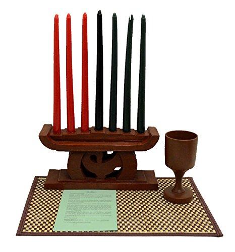 (African Heritage Collection Kwanzaa Sankofa Candleholder & Celebration Set - Made in Ghana)