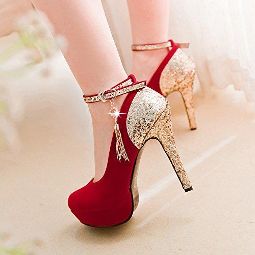 Imperméable Rouge Chaussures Talons De Des KHSKX Célibataire Superficiel Magasin Doucement Thirty Sexy Les Les 12Cm six Marier Bien Talon Nuit De Chaussures Chaussures Super qqaPtv