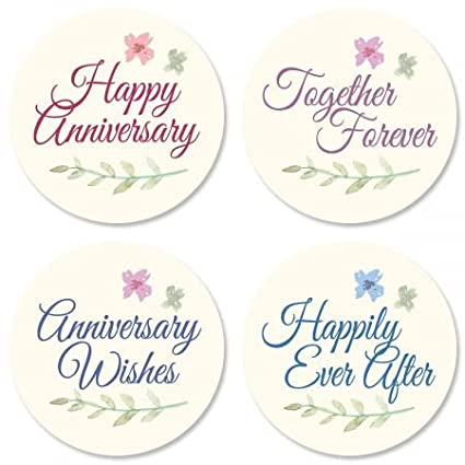 Bliss Anniversary Stickers Set of 24 Round Evelope Seals