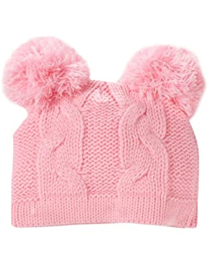 Baby-Girls Newborn Pom Pink Cable Knit Hat