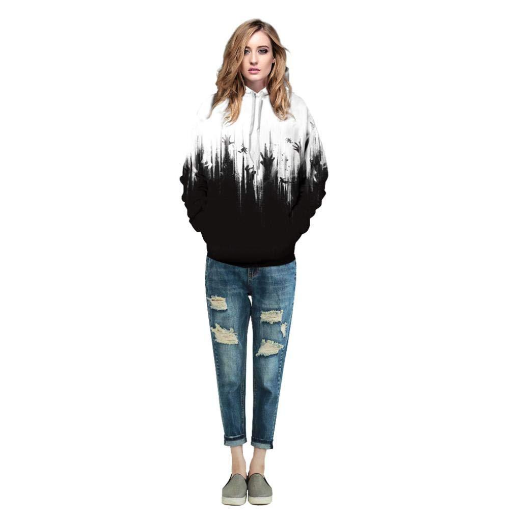 Rucan Halloween Women Men Skeleton 3D Print Long Sleeve Hoodie Sweatshirt Pullover Top by Rucan (Image #3)
