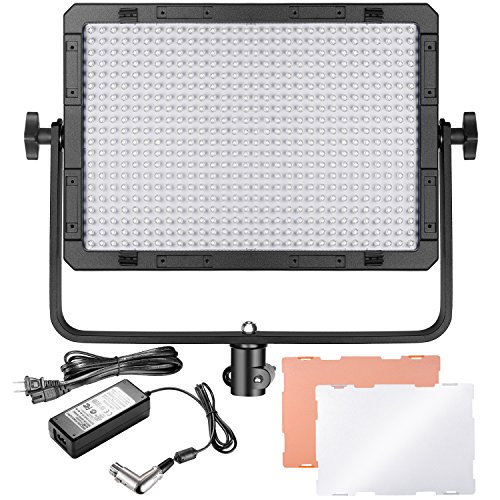 Neewer Dimmable Single-Color 600 LED Video Light with U Bracket and Color Filter (White, Orange) for Studio, YouTube Outdoor Video Photography Lighting, 600 LED Beads, 5500K, CRI 95+ by Neewer