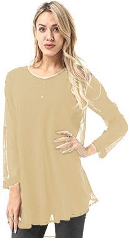 RoadRoma Camisa de Manga Larga de Color sólido para Mujer de Moda Tops o Cuello Blusa de Gasa (Color Albaricoque) XXL: Amazon.es: Hogar