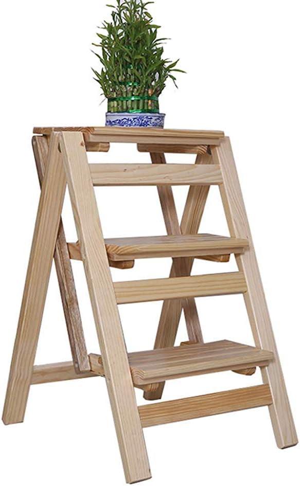 Escalera plegable Escalera plegable de tres escalones, silla de comedor de madera portátil Escaleras domésticas Escaleras para niños y adultos, herramientas de jardinería para el hogar,Beige: Amazon.es: Hogar