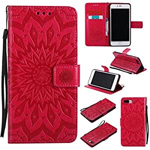 iPhone 7 Plus Case, iPhone 8 Plus Case, Love Sound [Wrist Strap] [Stand] Emboss Sunflower PU Leather Wallet Flip Protective Case Cover with Card Slots for Apple iPhone 7 Plus / iPhone 8 Plus (Red)