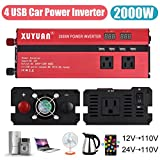 2000W 4 USB LED Car Power Inverter DC 12V/24V To AC 110V Charger Converter