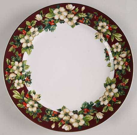 SAKURA Splendor Burgundy SET/4 DINNER Plates ~ White Flowers, Holly On Burgundy~Discontinued 2004~ EXCELLENT/Mint Condition