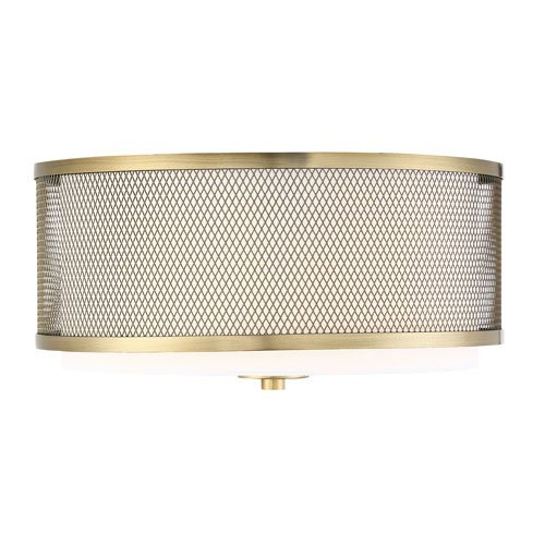 251 First Selby Natural Brass Three-Light Flush Mount Drum with White Fabric Shade