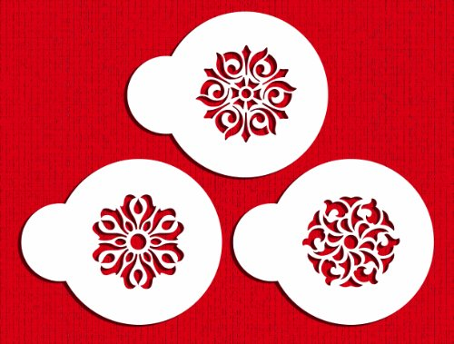 Designer Stencils C566 Three Gem Pendants Cake Stencils Set, Beige/semi-transparent (Circle Pendant Scroll)