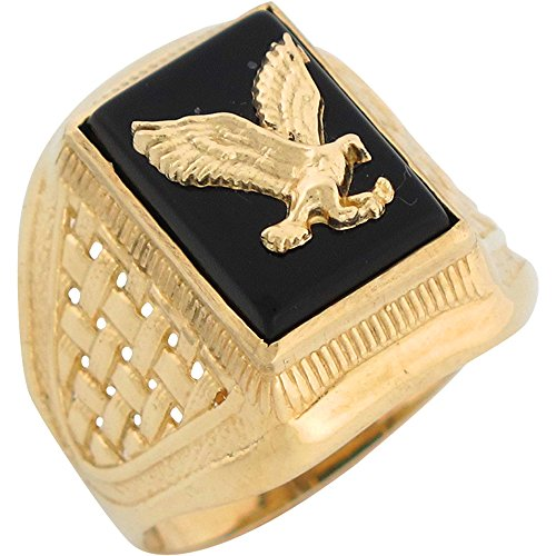 Gold Onyx Eagle Ladies Ring (10k Yellow Gold Onyx Patriotic Flying Eagle Mens Ring)