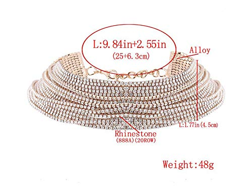 Goddesslili Classic Luxury Crystal Multi-Layer Diamante Rhinestone Choker Drop Jewelry Sets for Girls, Anniversary Easter Present for Wife, Aunt, Nana, Daughter (Diamante 1 Pendant Light)
