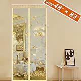"""Spritech Embroider Flower Style Magnet Screen Door, Magic Exterior Patio Door Mesh 48 X 83 Fit Doors Size Up to 46""""W X 82""""H Max with Full Frame Mosquito Door Mesh Curtain Keep Fly Bug Out"""