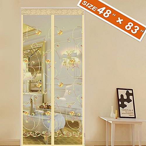 Spritech Embroider Flower Style Magnet Screen Door Magic Exterior