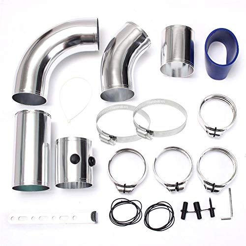 Hellycuche Air Intake Pipe, 76mm/3inch Universal Car Cold Air Injection Intake Filter System Aluminium Hose Pipe Tube Kit: