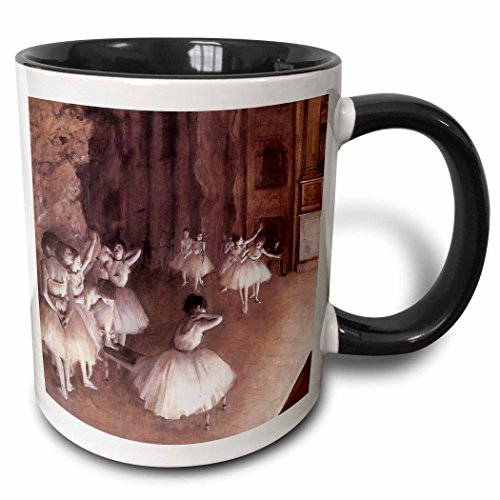 3dRose 126968_4 Ballet Rehearsal on the Stage by Edgar Degas Mug, 11 oz, Black