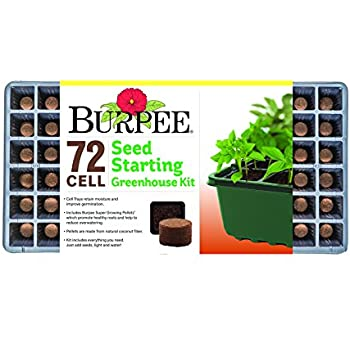 Burpee 72 Cell Seed Starting Greenhouse Kit, One Size, One Pack, Black