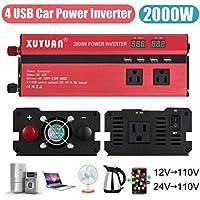 Car Inverter,2000W 4 USB LED Car Power Inverter DC 12V/24V To AC 110V Charger Converter