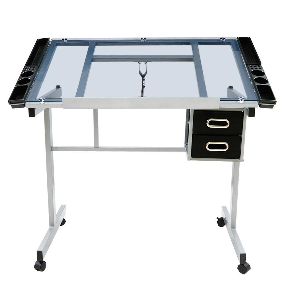 go2buy Adjustable Drafting Drawing Table Rolling Drafting Desk Tempered Glass Top w/Storage Drawers by go2buy