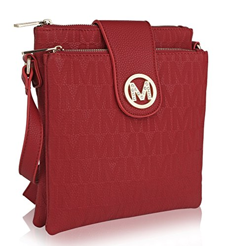 MKF Crossbody Bags for women - Adjustable Strap - Vegan Leather - Crossover Side Messenger Womens Purse Red ()