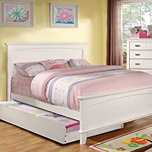 colin transitional style white finish full size bed frame set w trundle